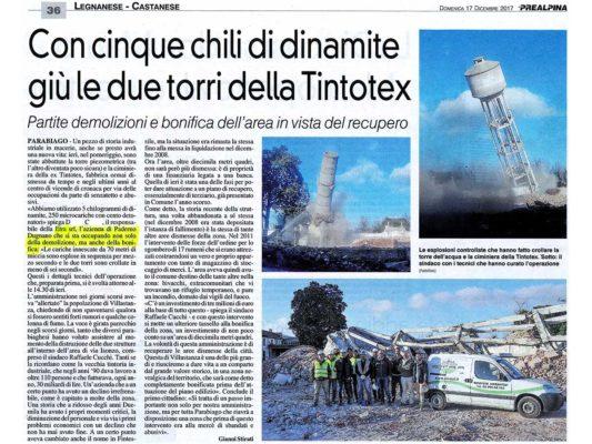 Esplosione controllata per demolizione di torre piezometrica e ciminiera area ex Tintotex - Parabiago - Milano