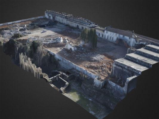 Ricostruzione 3D post demolizione torre piezometrica di area industriale ex Tintotex - Parabiago - Milano