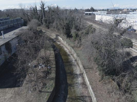 Monitoraggio aereo con drone - videoispezione canale Villoresi in prossimità area ex Tintotex Parabiago - Milano