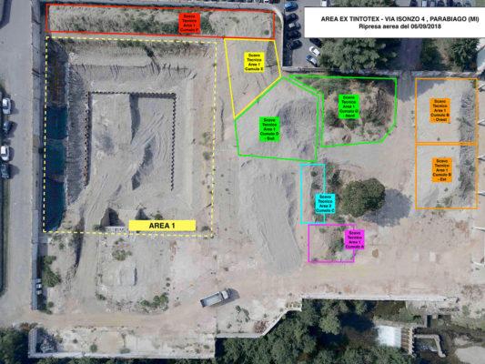 Riprese aeree con drone: layout di cantiere - monitoraggio attività di bonifica area industriale ex Tintotex - Parabiago - Milano