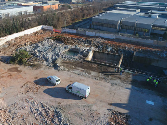 Videoispezione con drone per demolizione fabbricati industriali dismessi ex Tintotex - Parabiago - Milano