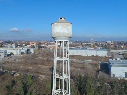 Videoispezione con drone per demolizione torre piezometrica in area industriale ex Tintotex - Parabiago - Milano